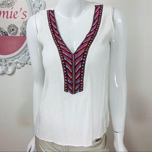 Love stitch / White Multicolor Embroider Hi Low